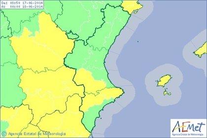El interior sur de Valencia y el norte de Alicante están en alerta amarilla por lluvias y tormentas