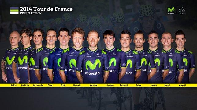 Preselección del Movistar para el Tour de Francia 2014