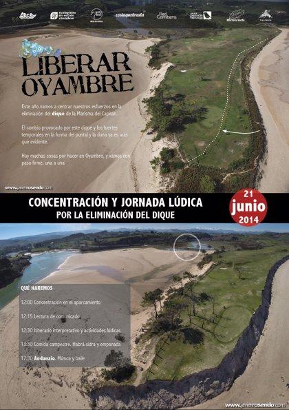 CANTABRIA.-Grupos ecologistas se concentran hoy en Oyambre para pedir la eliminación del dique de la Marisma del Capitán