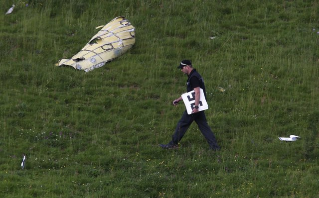 A police officer inspects a field after a mid-air collision between two aircraft