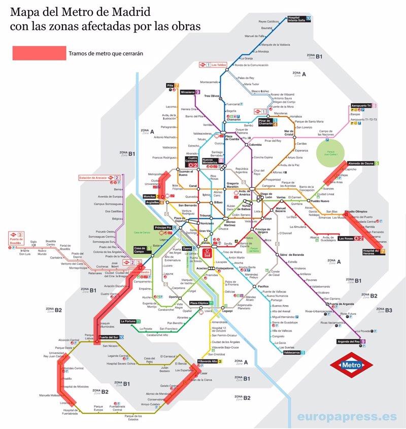 Mapa para evitar las obras del Metro de Madrid