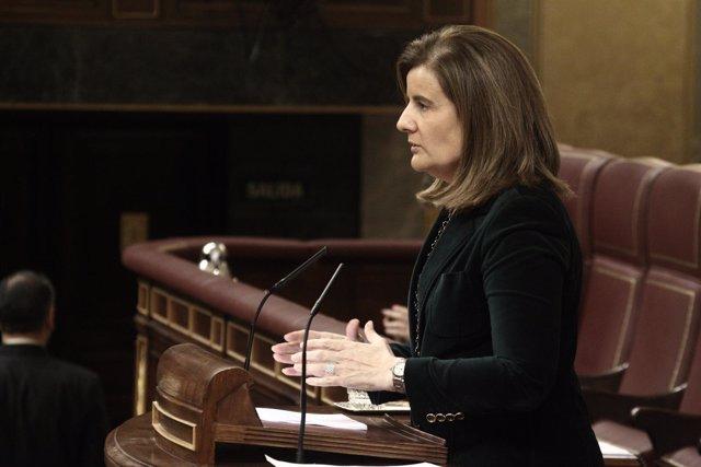 Fátima Báñez, ministro de Empleo, en el hemiciclo