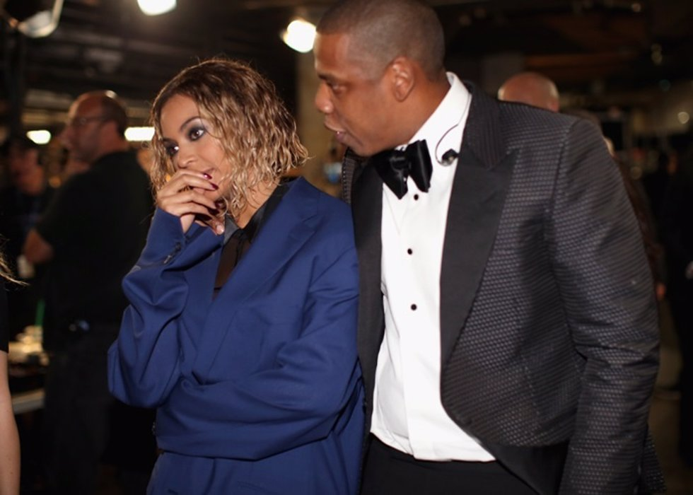 Singer Beyonce Knowles (L) and rapper Jay-Z atten
