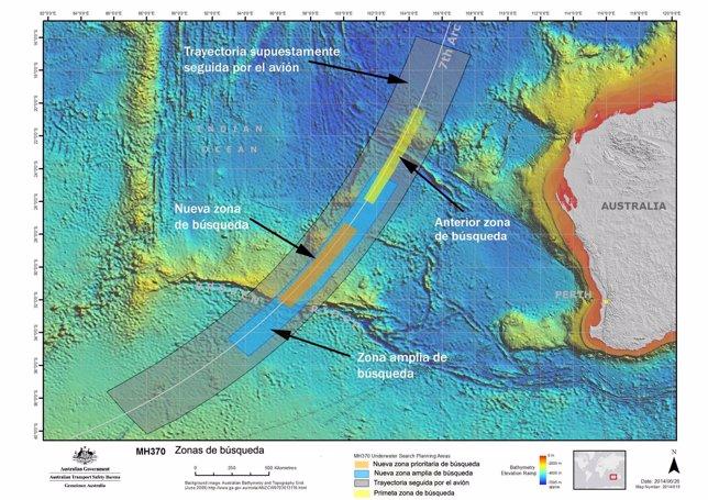 Zonas de búsqueda del avión MH370