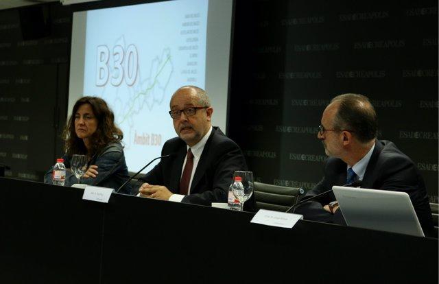 Mercè Conesa(alcalde Sant Cugat)conseller Felip Puig,Josep Monràs(alcalde Mollet