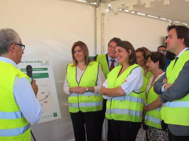 La presidenta de la Junta de Andalucía en las obras de la variante de Albox