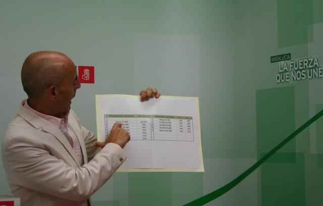 El diputado socialista Antonio Hurtado durante la rueda de prensa