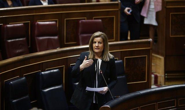 Fátima Báñez, ministra de Empleo, en el hemiciclo