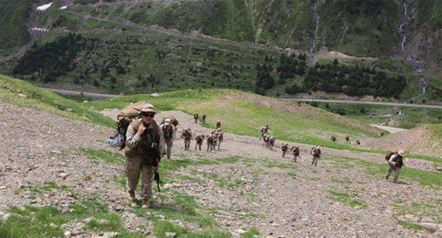 Marines de EEUU entrenando con tropas del Ejército de Tierra en los Pirineos