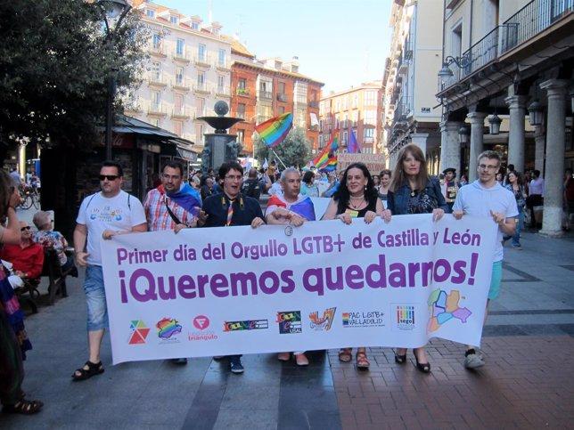 Pancarta que abría la manifestación en favor del orgullo LGTB+  en Valladolid.