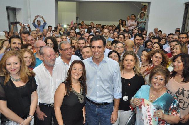 Pedro Sánchez, en la sede del PSOE de Sevilla