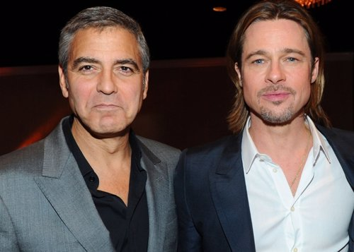 Actors George Clooney and Brad Pitt attend