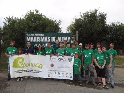 Más de 20 voluntarios eliminan plumeros en las marismas de Alday