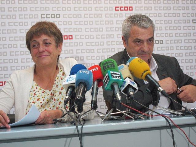 María Jesús Cedrún y Carlos Sánchez, de UGT y CCOO Cantabria