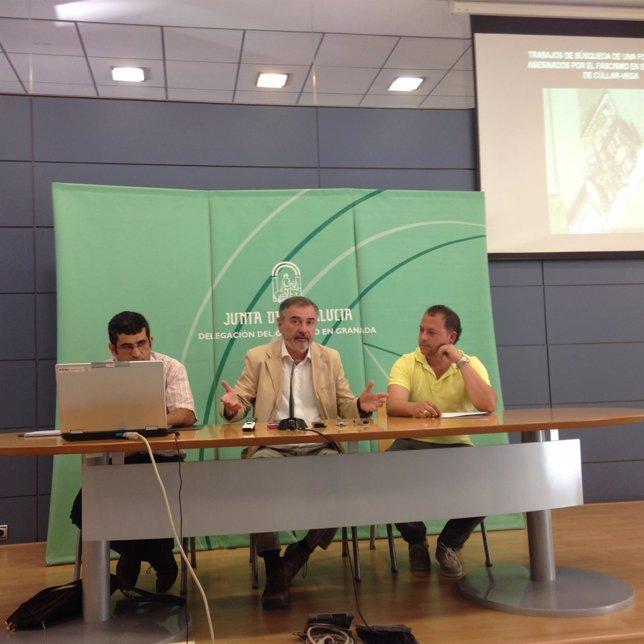 Daniel Barragán, Luis Naranjo y Jorge Sánchez (alcalde de Cúllar Vega)