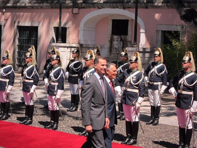 El Rey Felipe VI a su llegada a Portugal