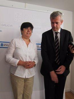El vicepresidente de la Xunta, Alfonso Rueda, a la derecha