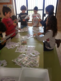 Escolares que participan en las jornadas 'Euronet 50/50'.