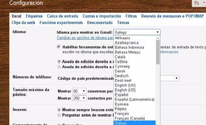 Gmail en gallego
