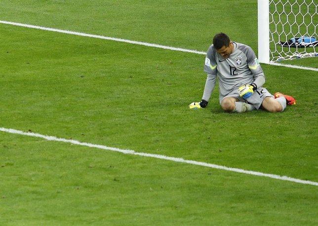 Julio César, el portero de Brasil, cuando perdieron 1-7 frente a Alemania