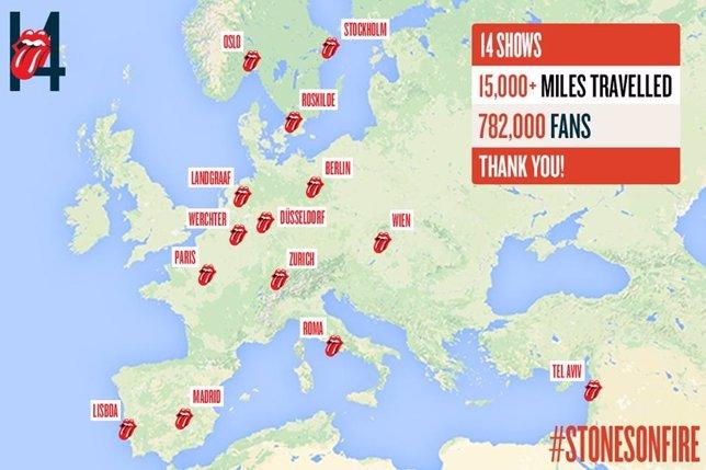 Mapa europeo de los Rolling Stones