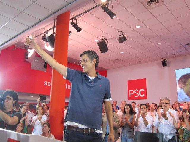 Eduardo Madina, en la sede del PSC este sábado