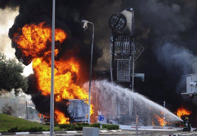 Un cohete palestino impacta en Israel