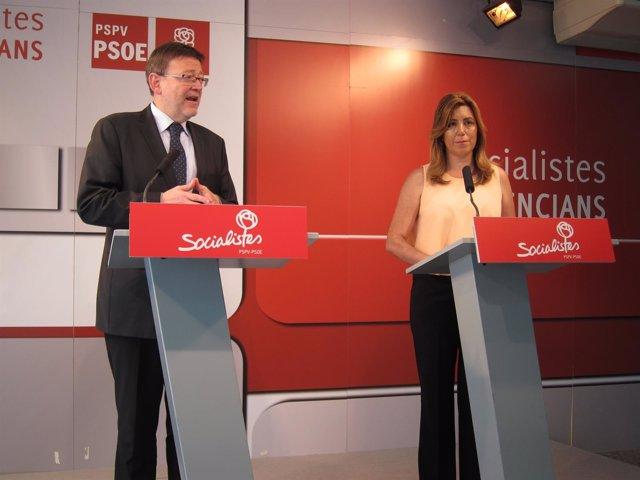 Ximo Puig y Susana Díaz en la rueda de prensa