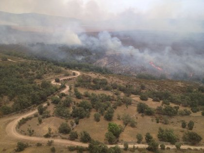 El perímetro de trabajo del fuego de Cogolludo es de 1.500 hectáreas y el de Bustares de 1.000