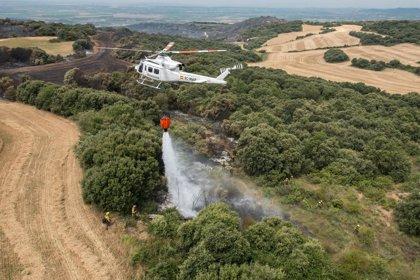 Siguen las labores de extinción y refresco en el incendio de Ujué, el más importante en los tres últimos años en Navarra