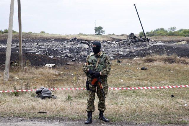 Restos del avión derribado en Ucrania