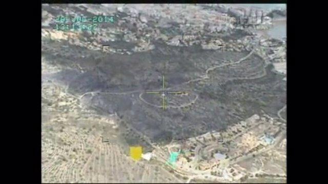 Vista aérea del incendio de Peñíscola