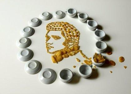 Retratos de John Lennon, Michael Jackson y otros artistas con cereales
