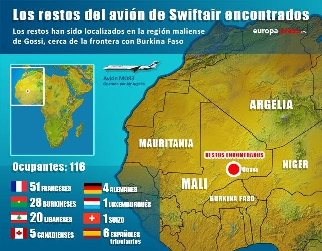 Infografía de los restos del avión de Swiftair en Malí