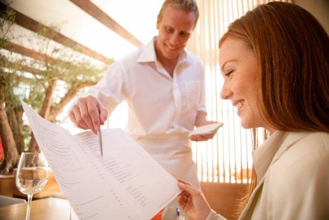 Restaurante, carta, menú, camarero, calorías