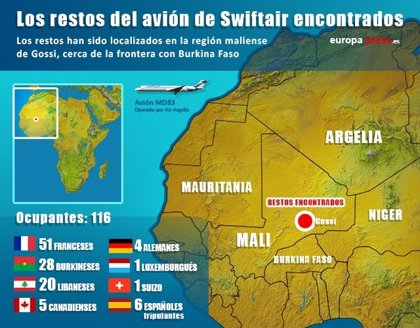 España enviará a Malí a 5 policías científicos para colaborar en la identificación de las víctimas del avión de Swiftair
