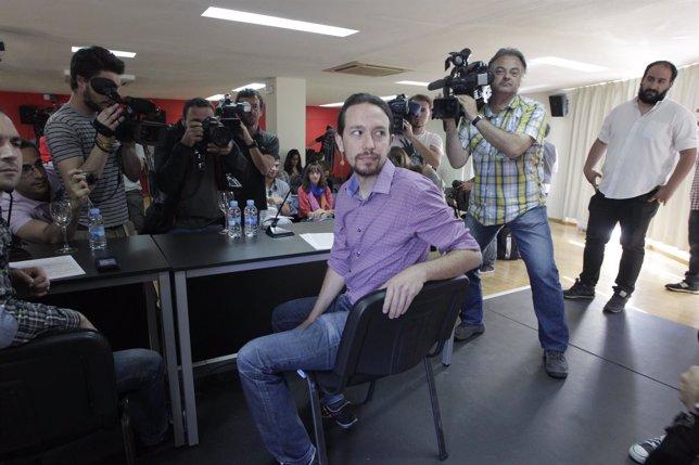 Rueda de prensa del líder de Podemos, Pablo Iglesias,