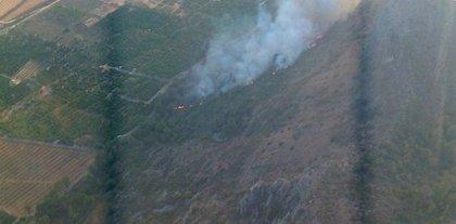 Seis brigadas y bomberos de Valencia permanecen de retén en el incendio de Alzira