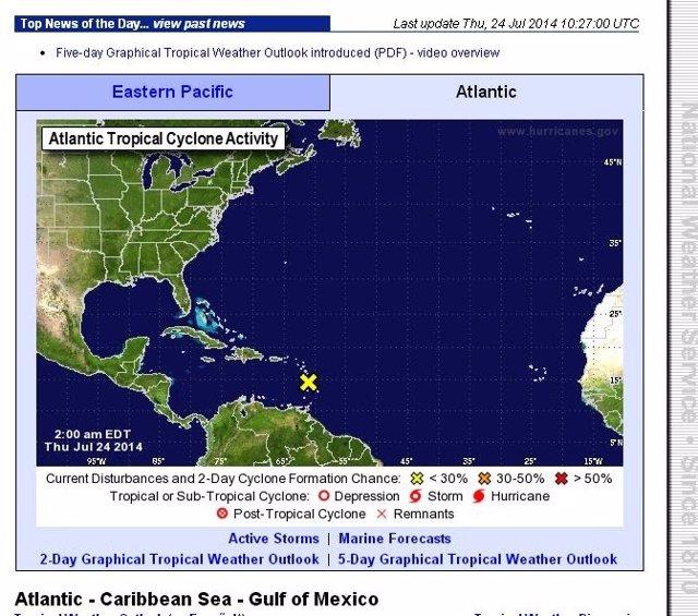 Situación actual en el Atlántico norte. Sin ciclones a la vista
