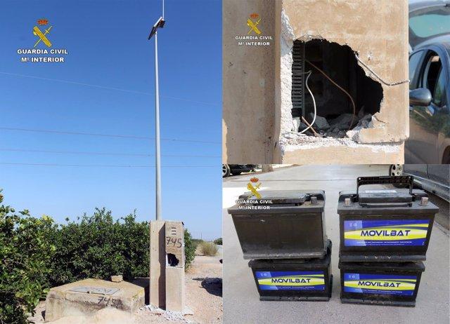 Imagen de las baterías robadas y del soporte del que fueron sustraidas
