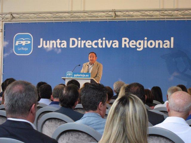 Sanz, durante su intervención en la Junta Directiva del PP riojano