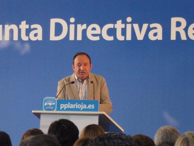 Sanz, en su intervención en la JUnta Directiva del PP riojano
