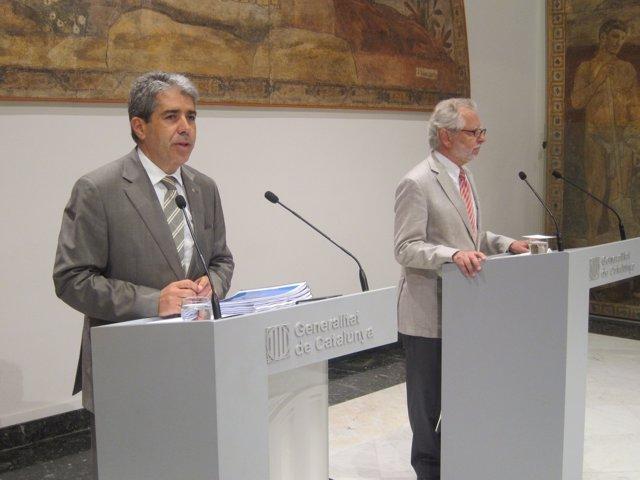 El conseller F.Homs y el presidente del CATN, Francesc Viver i Pi-Sunyer