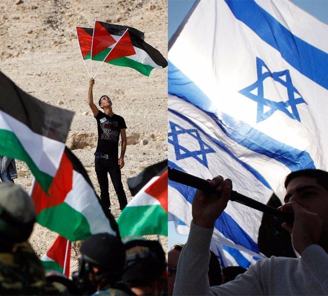 Banderas palestinas e israelíes