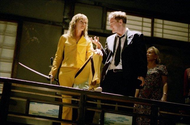 Quentin Tarantino y Uma Thurman en el rodaje de Kill Bill