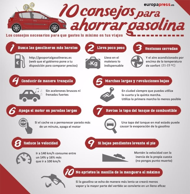 Infografía Consejos para ahorrar gasolina