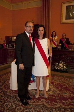 Javier Lambán y Teresa Ladrero.