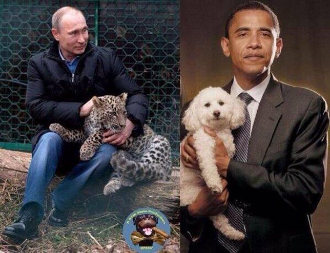 Imagen de Obama y Putin con animales