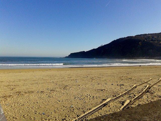 Playa de La Zurriola en San Sebastián