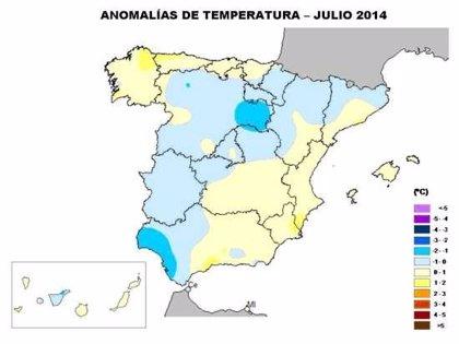 Andalucía occidental registró temperaturas un grado por debajo de la media en julio